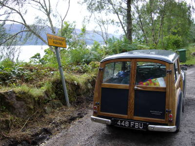 Fenchurch parked in the only layby around Loch Ness that wasn't full of motor-homes