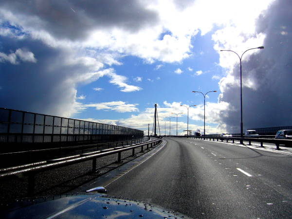 Driving over the Erskine Bridge