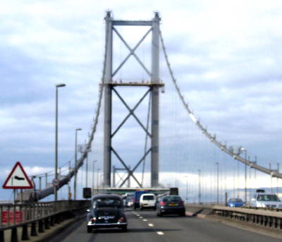 Going over the Forth Road Bridge in convoy