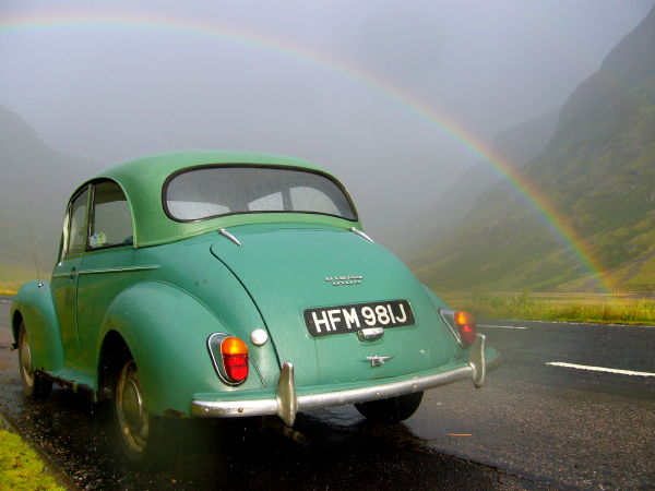 Lintilla under a rainbow in Glen Coe